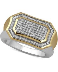 Macy's Diamond Pavé Cluster Ring (1/5 Ct. T.w.) In Sterling Silver & 18k Gold-plate - Metallic