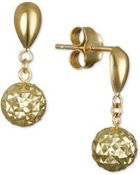 Macy's - Textured Drop Earrings In 10k Gold - Lyst