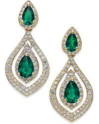 Macy's - Certified Ruby (1-1/2 Ct. T.w.) And Diamond (3/4 Ct. T.w.) Drop Earrings In 14k Gold - Lyst