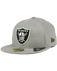 0fd28a1f830 KTZ - Oakland Raiders Heather Black White 59fifty Cap - Lyst