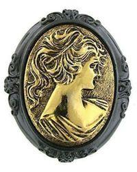 2028 Cameo Brooch Pin - Metallic