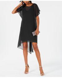 Adrianna Papell Chiffon-overlay A-line Dress - Black