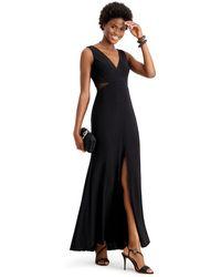 Xscape Petite Sheer-inset Mermaid Gown - Black