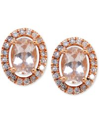 Macy's - Morganite (1 Ct. T.w.) And Diamond (1/3 Ct. T.w.) Oval Button Stud Earrings In 14k Rose Gold - Lyst