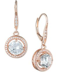 Anne Klein - Round Crystal And Pavé Drop Earrings - Lyst