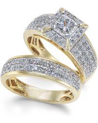 Macy's - Diamond Princess Pavé Bridal Set (1-1/2 Ct. T.w.) In 14k Gold - Lyst