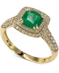 Effy Collection - Emerald (7/8 Ct. T.w.) And Diamond (1/2 Ct. T.w.) Cushion Ring In 14k Gold - Lyst