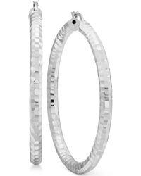 Macy's - Textured Hoop Earrings In Sterling Silver - Lyst