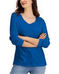 Karen Scott Long Sleeve Cotton Scoop-neckline Top, Created For Macy's - Blue
