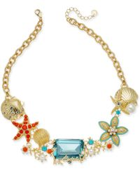 """Charter Club Crystal & Imitation Pearl Starfish Necklace, 18"""" + 2"""" Extender, Created For Macy's - Metallic"""