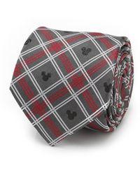 Disney Mickey Mouse Holiday Plaid Silk Tie - Gray