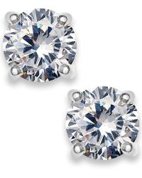 Charter Club | Silver-tone Cubic Zirconia Round Stud Earrings | Lyst