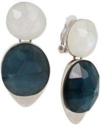 Robert Lee Morris - Silver-tone Stone Clip-on Double Drop Earrings - Lyst