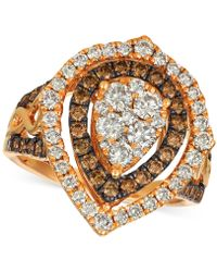 Le Vian - ® Chocolate & Nudetm Diamond Cluster Halo Ring (1-9/10 Ct. T.w.) In 14k Rose Gold - Lyst
