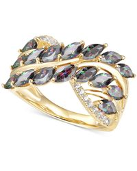 Macy's Mystic Topaz (2 Ct. T.w.) & Diamond (1/10 Ct. T.w.) Statement Ring In 14k Gold-plated Sterling Silver - Metallic