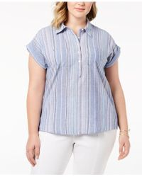 Style & Co. - Plus Size Cotton Marcella Striped Top Shirt, Created For Macy's - Lyst