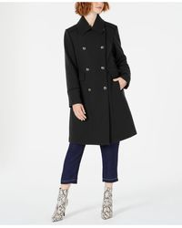 Vince Camuto Wing-collar Double-breasted Coat - Black