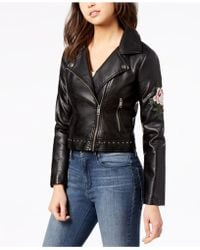 Maralyn & Me Juniors' Embroidered Faux-leather Moto Jacket - Black