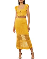 BCBGMAXAZRIA Cotton Crochet Maxi Skirt - Yellow