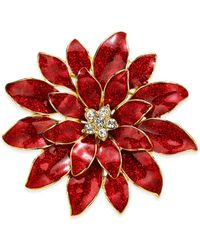 Charter Club Holiday Lane Gold-tone Crystal & Glitter Epoxy Poinsettia Pin, Created For Macy's - Metallic