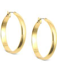 Anne Klein - Gold-tone Click-it Hoop Earrings - Lyst