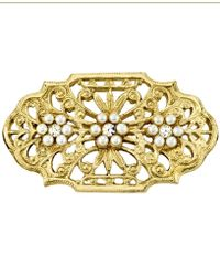 2028 Downton Abbey Gold-tone Edwardian Filigree Simulated Pearl And Crystal Oval Bar Pin - Metallic