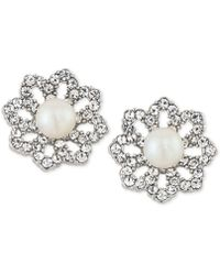Carolee - Silver-tone Pavé & Imitation Pearl Clip-on Stud Earrings - Lyst