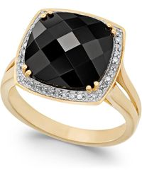 Macy's Faceted Onyx (4-1/2 Ct. T.w.) And Diamond (1/5 Ct. T.w.) Ring In 14k Gold - Black