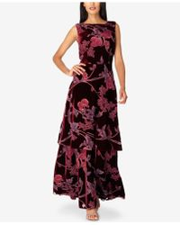 Tahari - Layered Floral-print Velvet Gown - Lyst