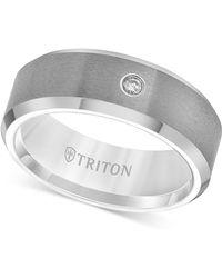 Triton Tungsten Carbide Ring, Single Diamond Accent Wedding Band - Metallic