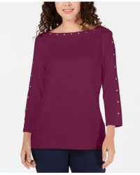 Karen Scott - Petite Studded Boat-neck Cotton Top, Created For Macy's - Lyst