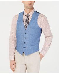 Bar Iii Slim-fit Linen Suit Vest, Created For Macy's - Blue