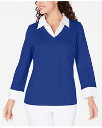 Karen Scott Petite Layered-look Cotton Top, Created For Macy's - Blue