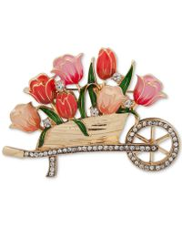 Anne Klein Gold-tone Pavé & Colored Enamel Flower Cart Pin, Created For Macy's - Pink