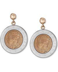 Macy's - Lire-look Coin Drop Earrings In Sterling Silver & 14k Gold Vermeil - Lyst