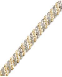 Macy's - Diamond Accent Swirl Bracelet In Sterling Silver-plated Bronze - Lyst
