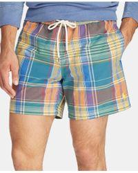 6c1cca1b2b Polo Ralph Lauren Traveler Gingham Swim Short in Blue for Men - Lyst