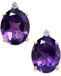 Macy's - Amethyst (4-1/2 Ct. T.w.) And Diamond Accent Stud Earrings In 14k Gold - Lyst
