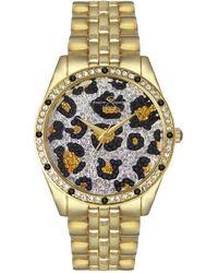 Jessica Simpson Animal Print Pave Crystal Gold Tone Bracelet Watch 37mm - Metallic