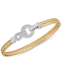 Macy's - Diamond Horseshoe Braided Mesh Bangle Bracelet (1/4 Ct. T.w.) In Sterling Silver & 14k Gold-plate - Lyst