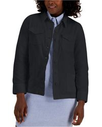 Karen Scott Solid Button-front Twill Jacket, Created For Macy's - Black