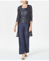 R & M Richards - 3-pc. Sequined Lace Pantsuit & Jacket - Lyst