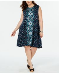 Style & Co. Plus Size Printed Sleeveless Swing Dress, Created For Macy's - Blue