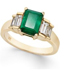 Macy's - Emerald (1-5/8 Ct. T.w.) And Diamond (3/4 Ct. T.w.) Ring In 14k Gold - Lyst