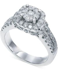 Effy Collection Bouquet By Effy® Diamond Square Halo Engagement Ring In 14k White Gold (1-1/4 Ct. T.w.) - Metallic