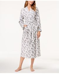 Charter Club - Cotton Rose-print Wrap Robe, Created For Macy's - Lyst