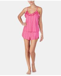 Betsey Johnson - Ruffle-trimmed Printed Knit Pajama Set - Lyst