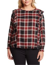 Jessica Simpson Trendy Plus Size Gypsy Ruffled Top - Red