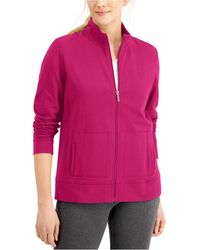 Karen Scott Petite French Terry Mock-neck Jacket, Created For Macy's - Pink