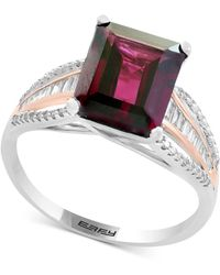 Effy Collection - Rhodolite (3-3/8 Ct. T.w.) & Diamond (1/4 Ct. T.w.) Ring In 14k White & Rose Gold - Lyst